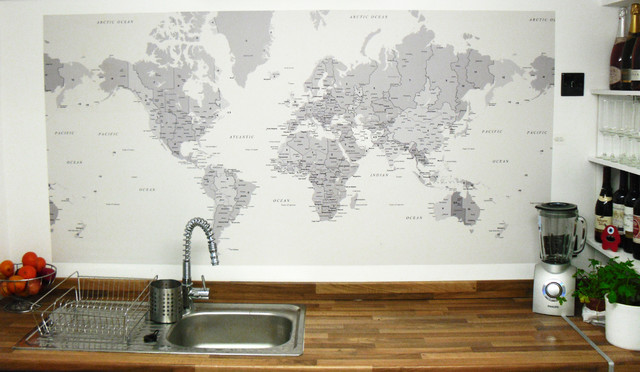 World Map Wallpaper used as a splashback   Eclectic   Wallpaper 640x372