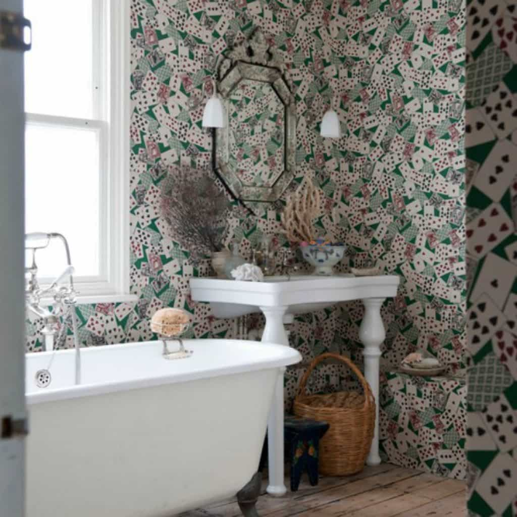 Bathroom With Clawfoot Tub And Patterned Wallpaper   Bathroom 1024x1024