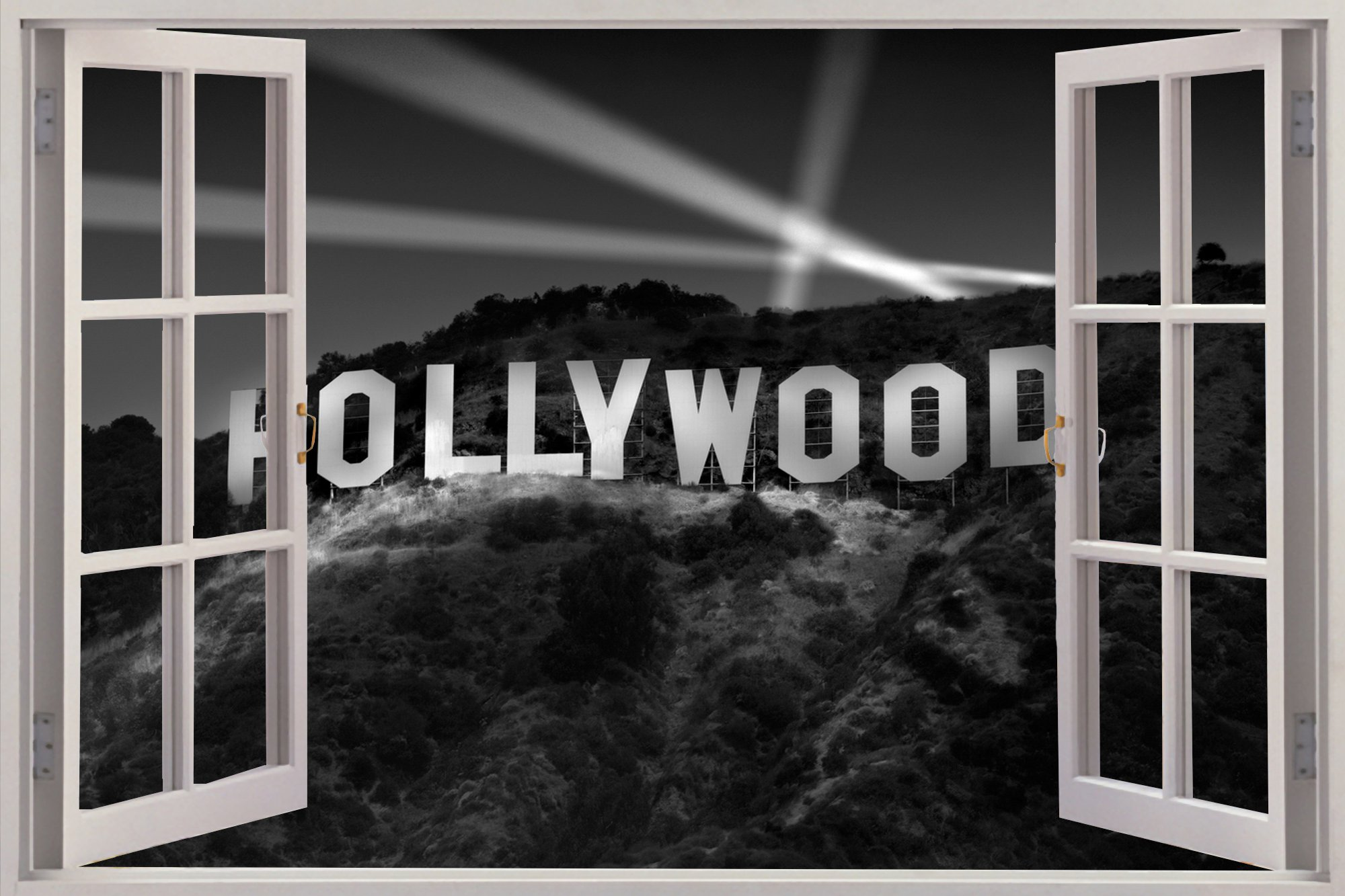 Huge 3D Window Hollywood Sign View Wall Stickers Film Decal Wallpaper 2000x1333