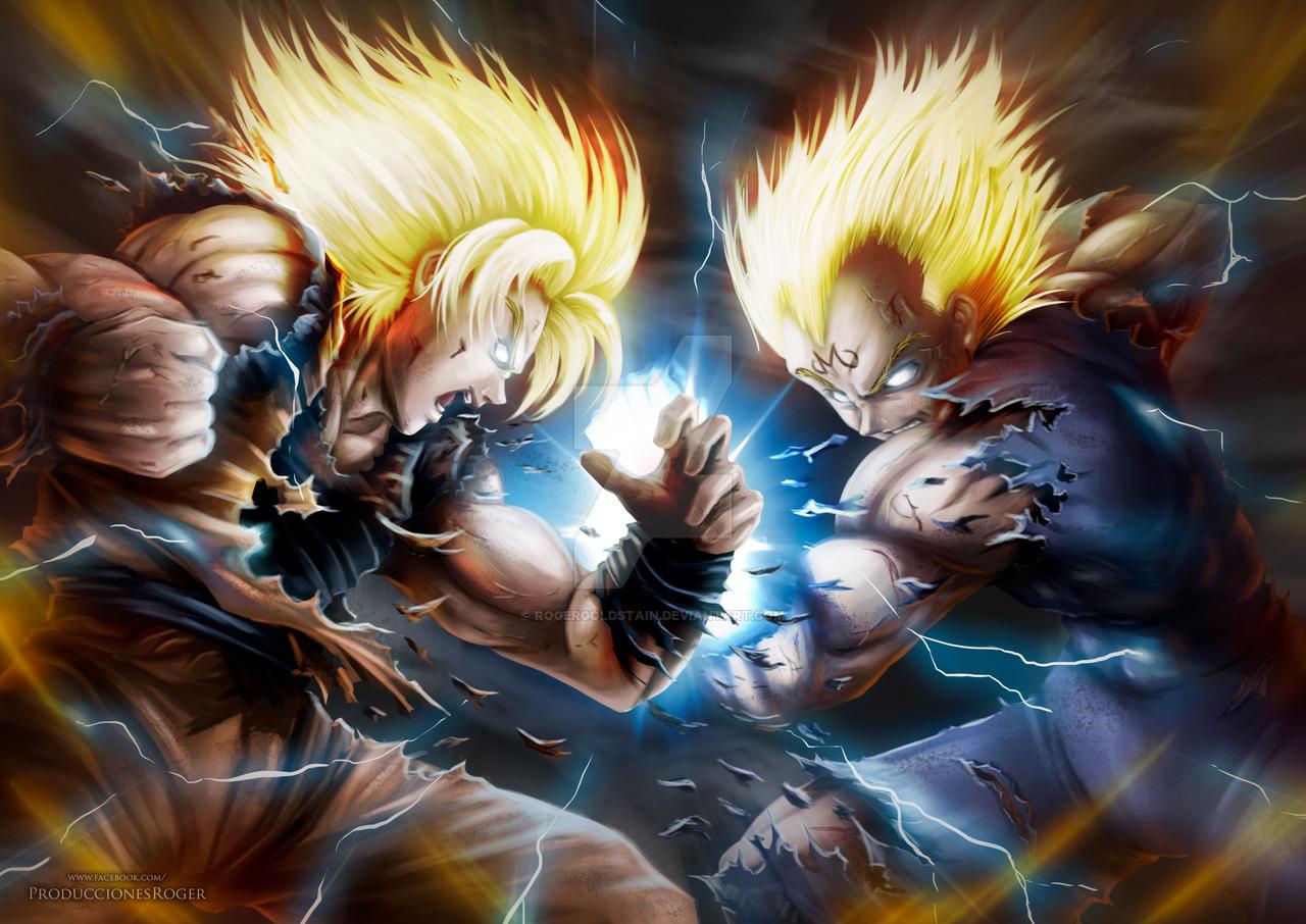 Goku vs Vegeta by RogerGoldstain 1280x906