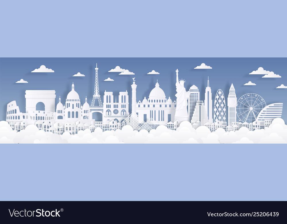 Paper cut landmarks travel world background Vector Image 1000x780