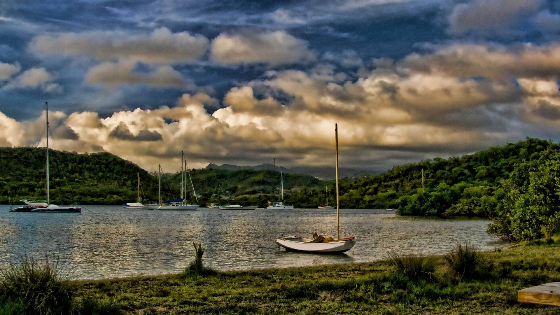 harbor at hog island in grenada hdr wallpaper 1920x1080