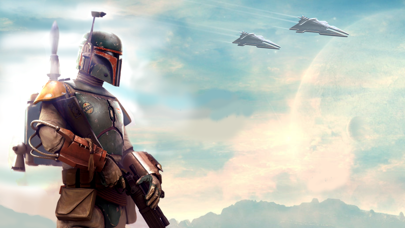Boba Fett is a Mandalorian warrior and bounty hunter Wallpaper and 1600x900