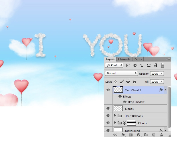 Create a Wallpaper with Flying Hearts Balloons and Cloud Text 620x500