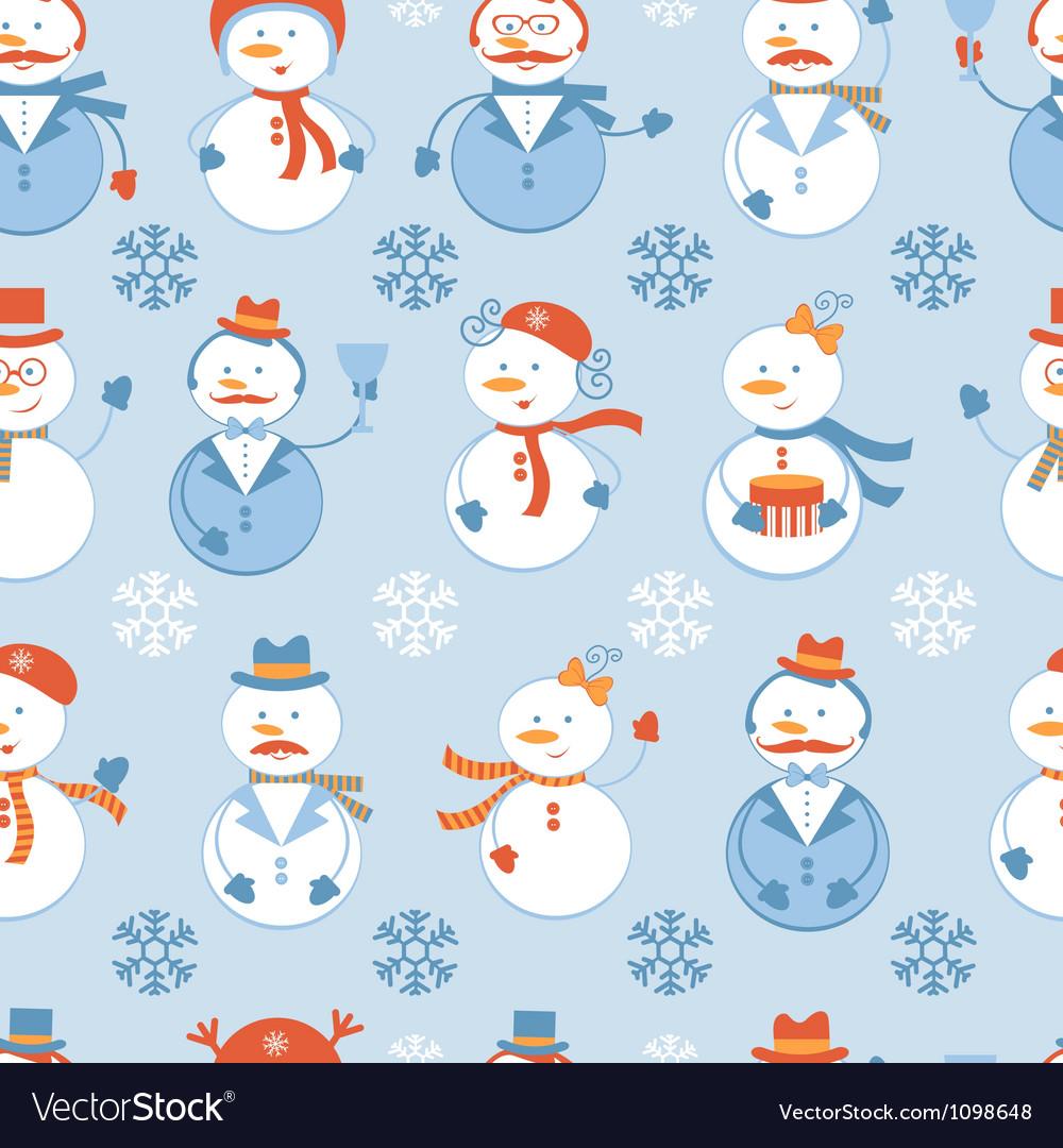 Snowmen seamless Background Royalty Vector Image 1000x1080