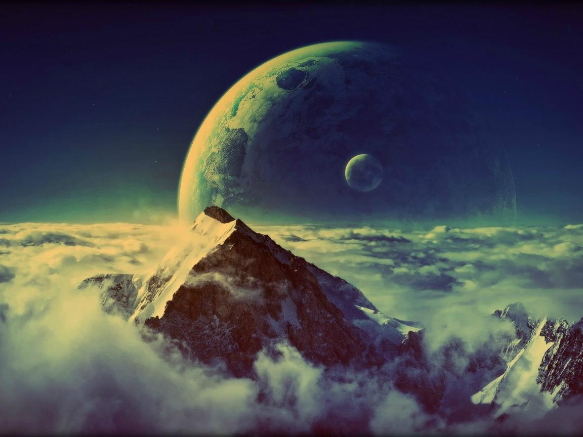 Moon amp Mountain Top Cool Wallpapers 1152x864