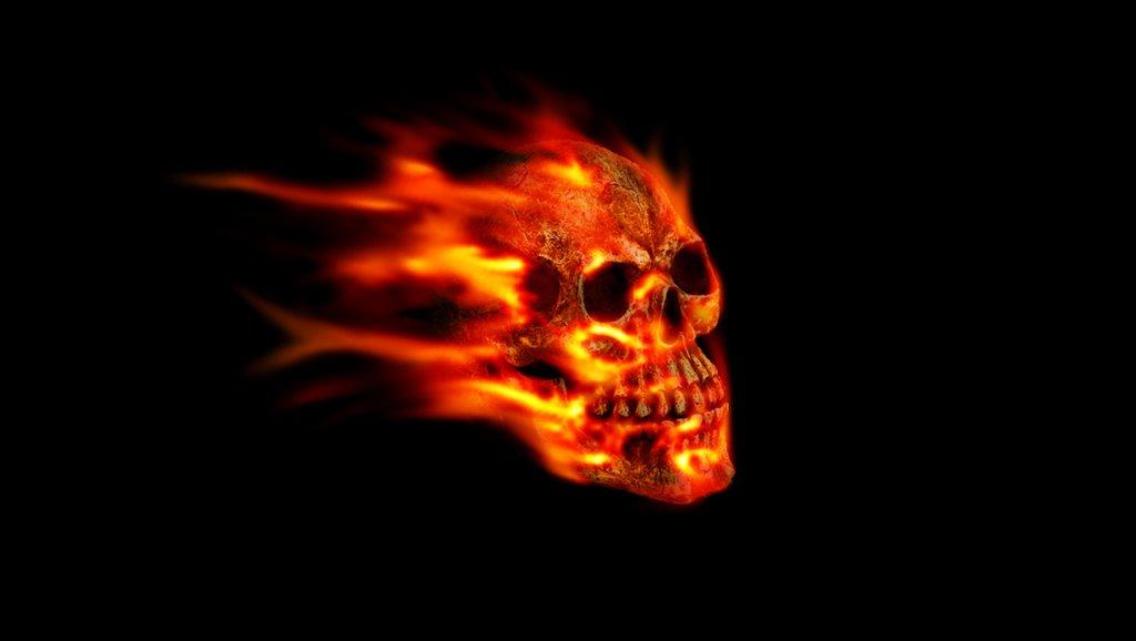 wallpapers skulls with flames wallpapersafari