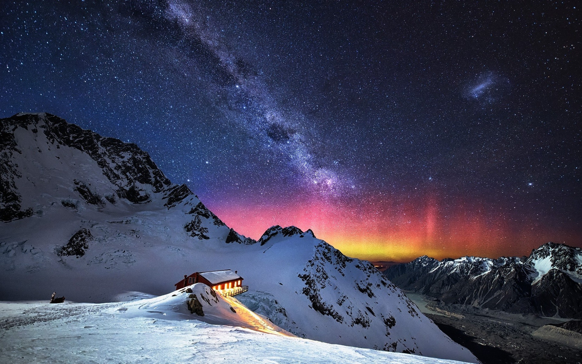 nature Mountain Snow Stars Milky Way Landscape Wallpapers HD 1920x1200