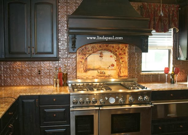 DIY Why Spend More Paintable wallpaper for a backsplash 612x439