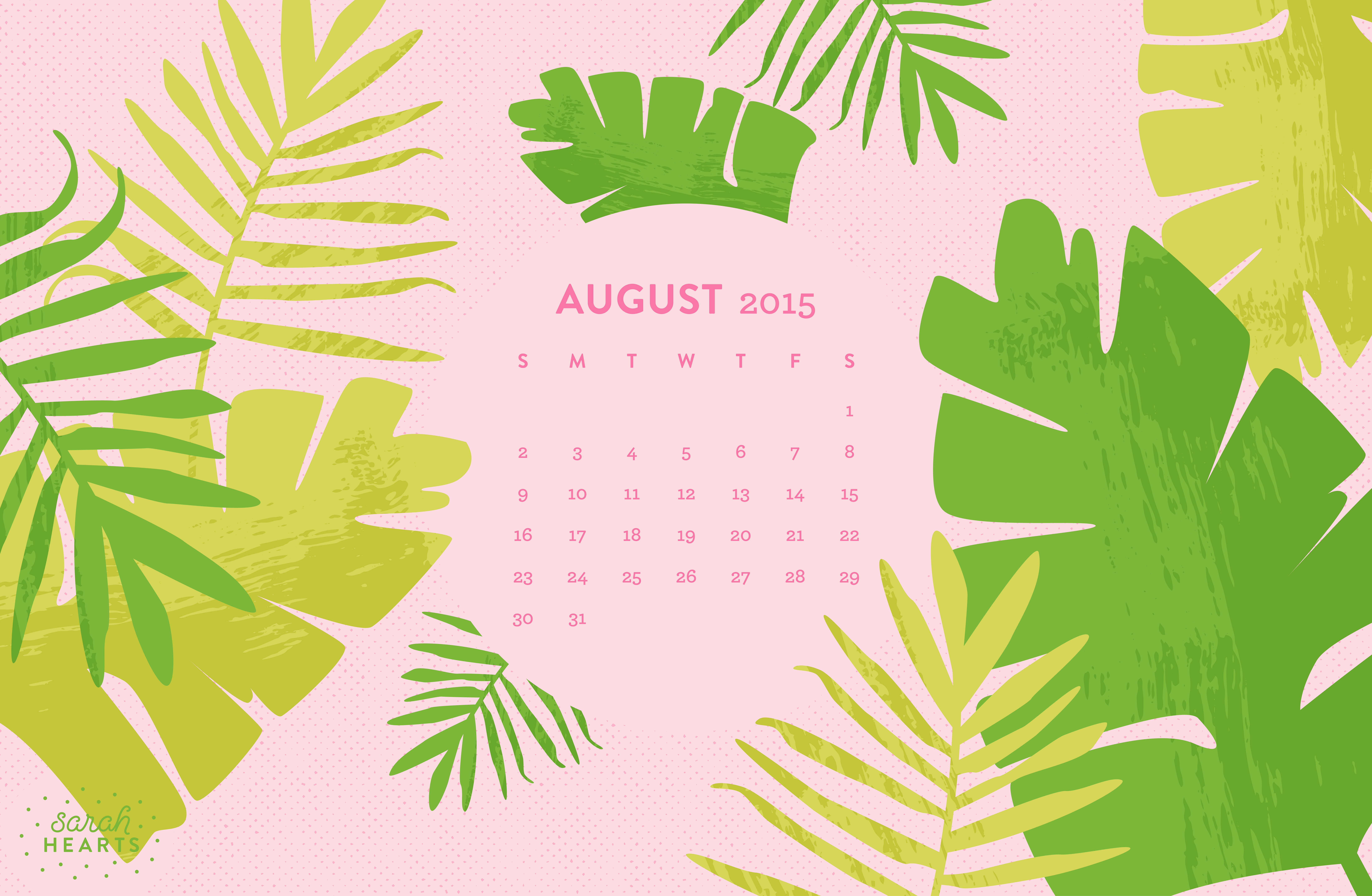 August 2015 Calendar Wallpaper   Sarah Hearts 8800x5744