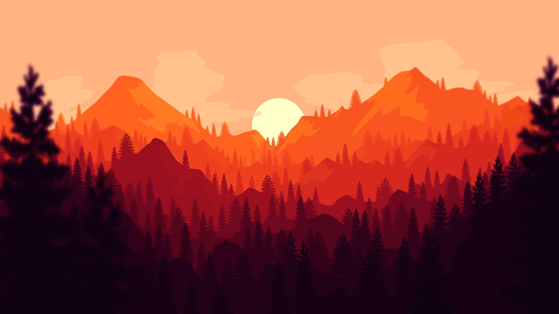 Clean Firewatch Styled Wallpaper wallpapers 1920x1080
