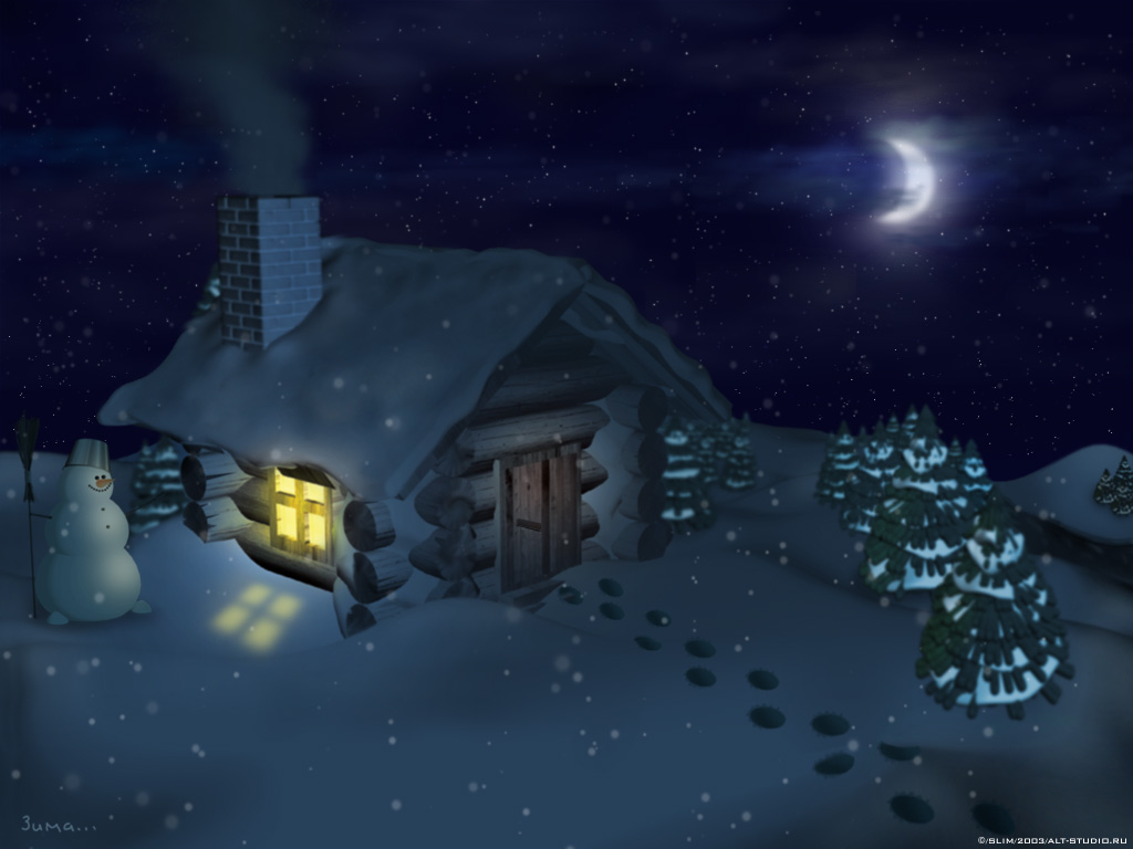 Animation Winter wallpapers warm house Urban Art Wallpaper 1024x768