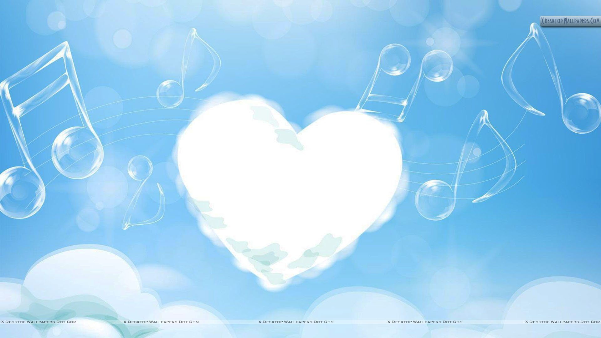 White Cloud Heart And Music Strings In Sky Wallpaper 1920x1080