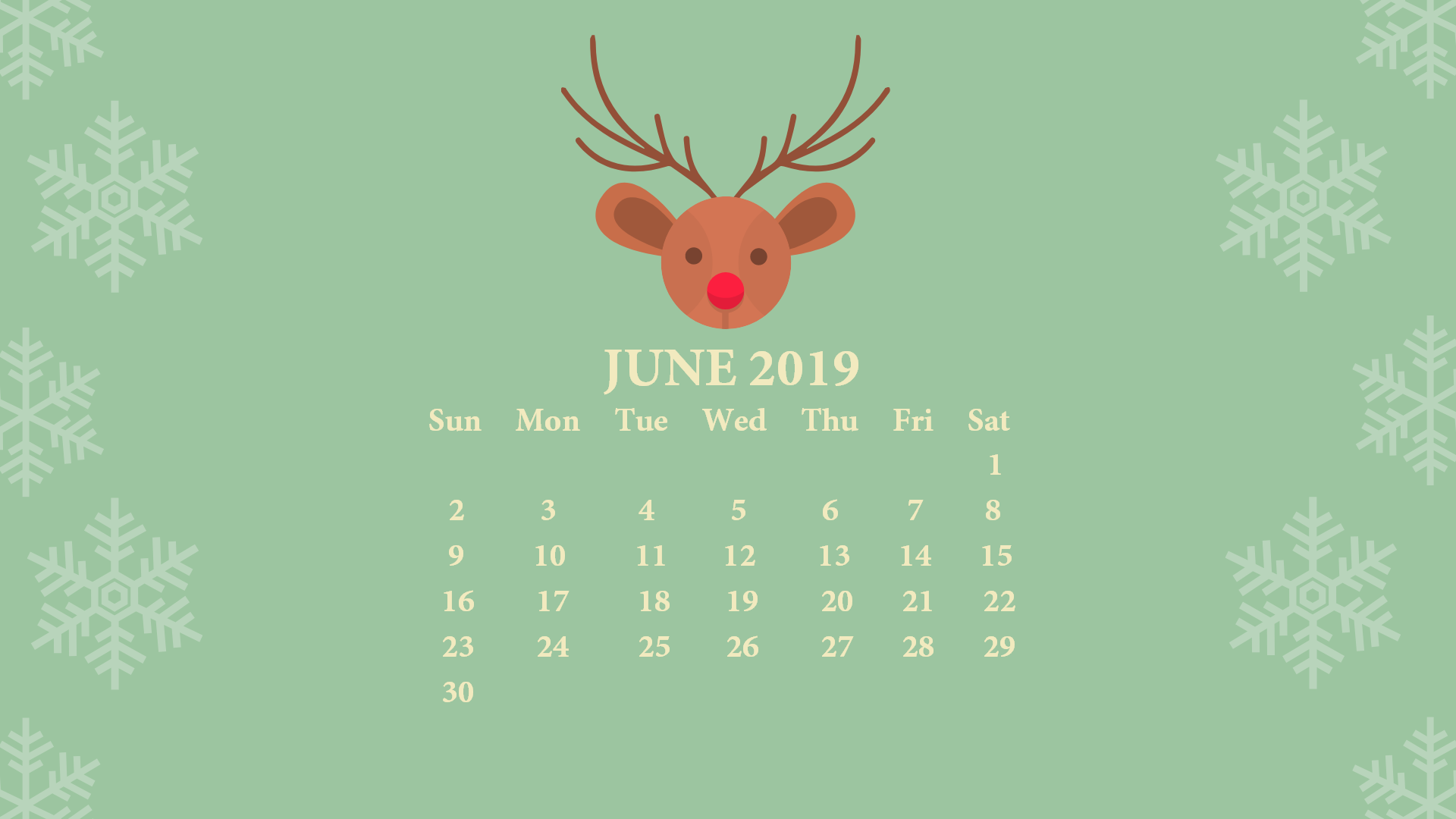 June 2019 Desktop Wallpaper with Calendar   Printable 1920x1080