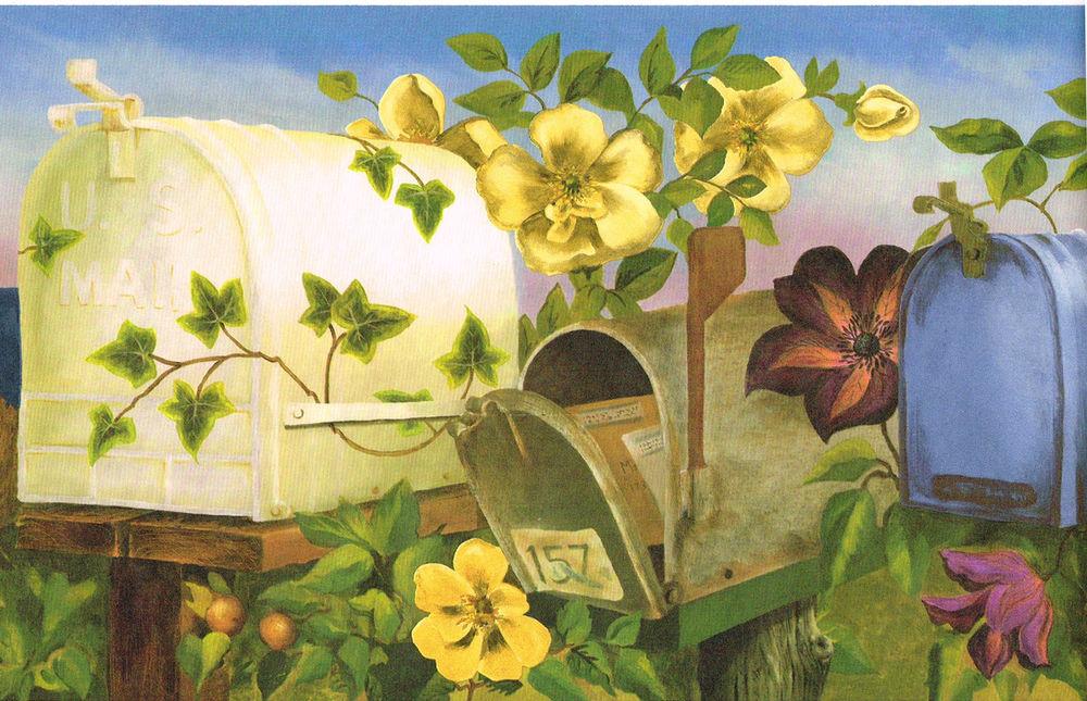 Blue Mailbox Bird Nest Ivy Yellow Floral Flower Wallpaper Border 1000x645