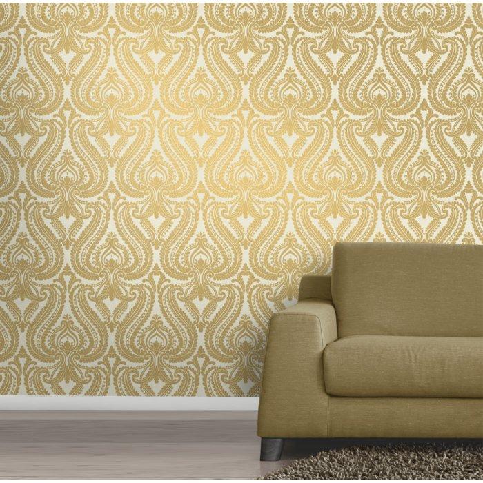 Love Wallpaper Shimmer Damask Metalic Designer Feature Wallpaper 700x700