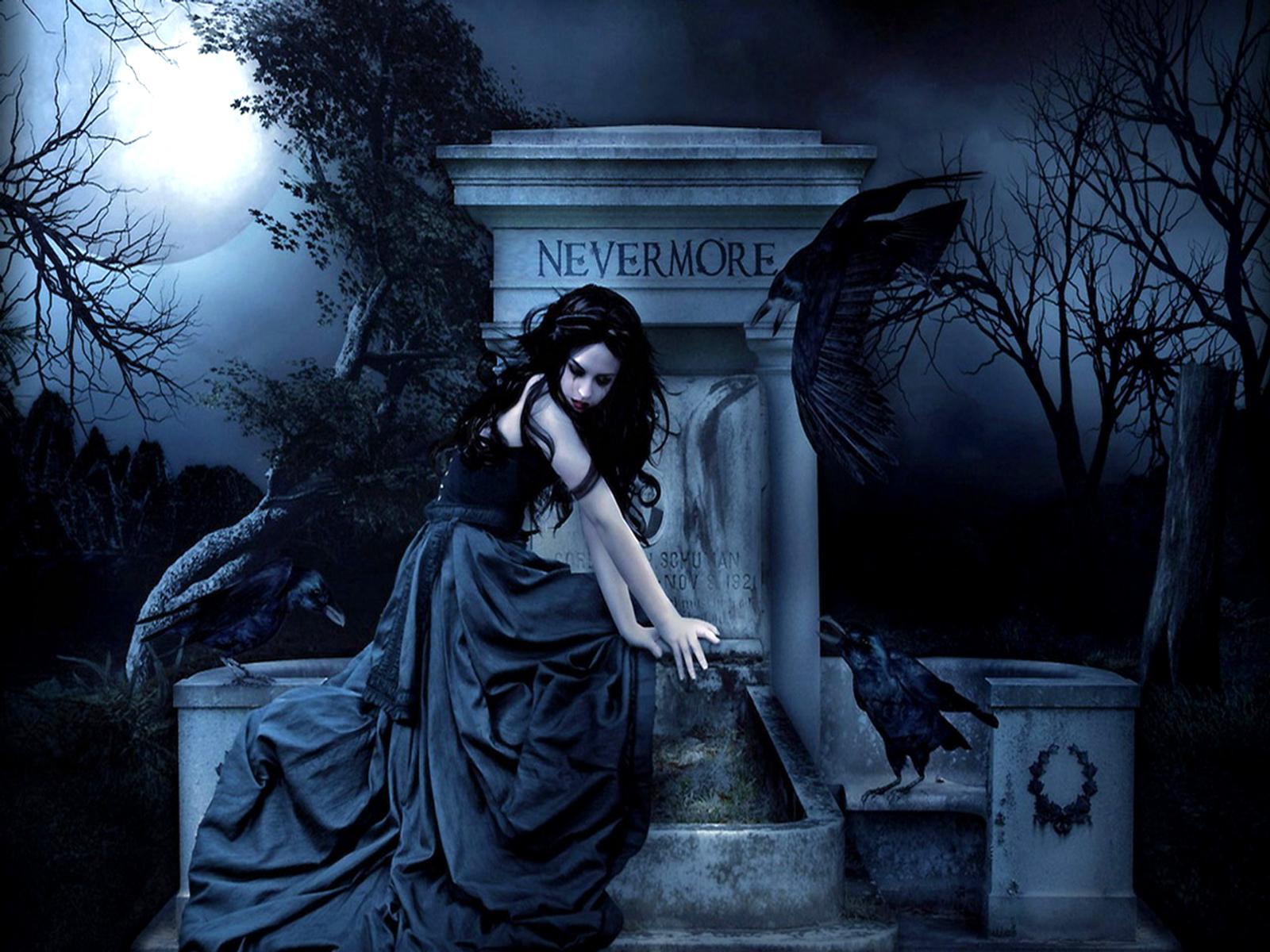 Gothic women dark fantasy poe raven wallpaper 1600x1200 28003 1600x1200