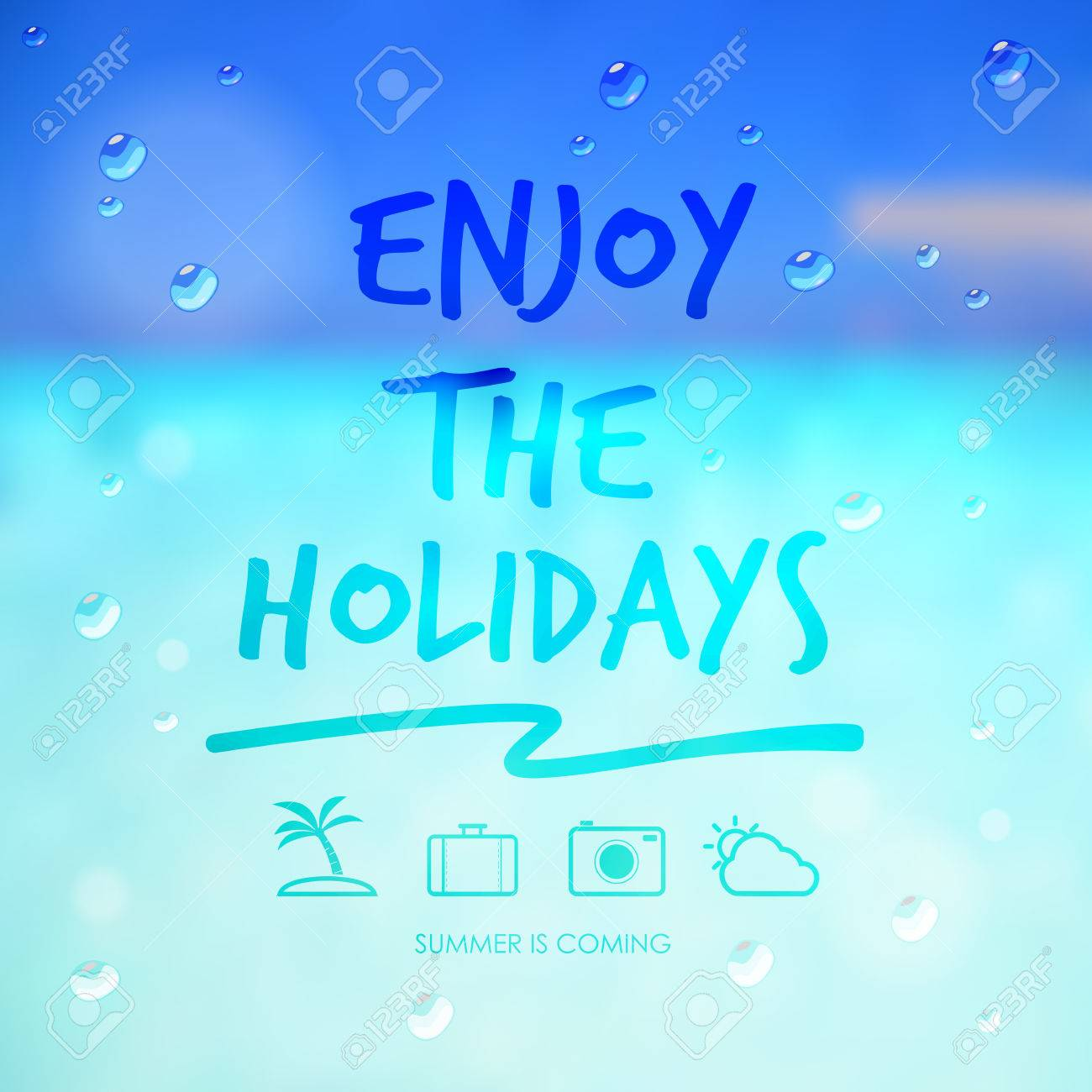 Enjoy The Holidays And Travel Icon On Summer Sea Background Vector 1300x1300