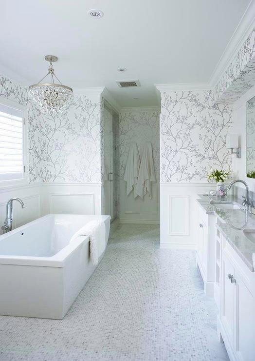 50 White And Silver Bathroom Wallpaper On Wallpapersafari