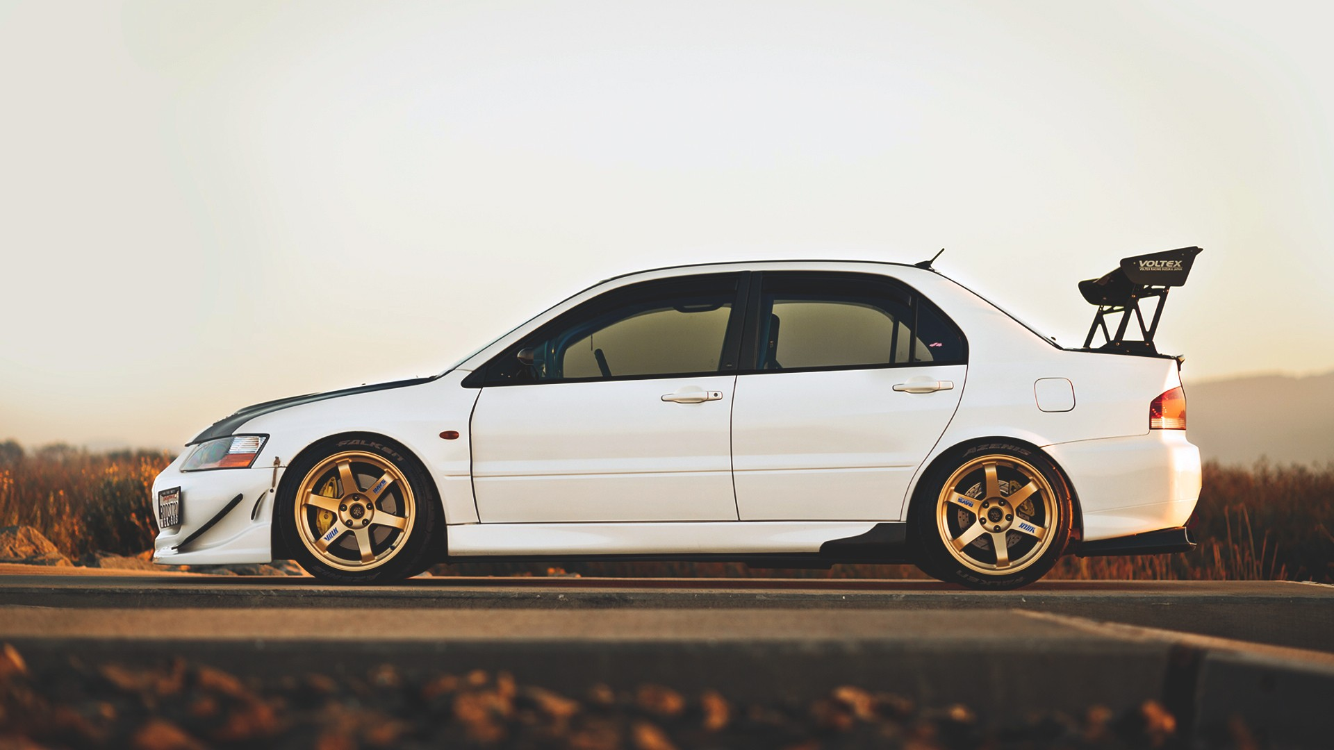 car Evolution Tuning Mitsubishi Lancer EVO White Cars 1920x1080