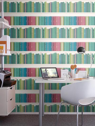 Bookshelf Wallpaper Gives An Instant Library Feel 400x528
