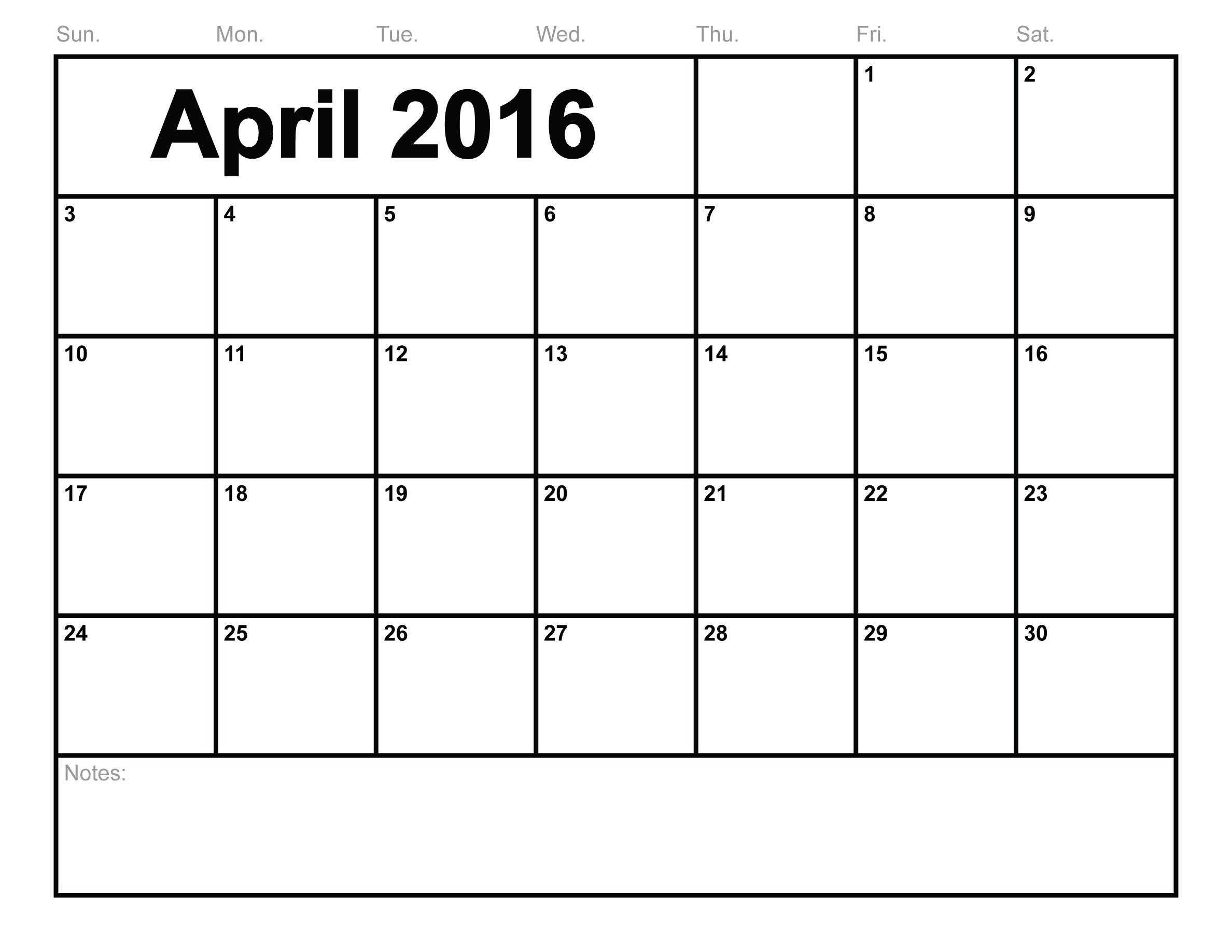 8 best images of april 2016 calendar printable template free.