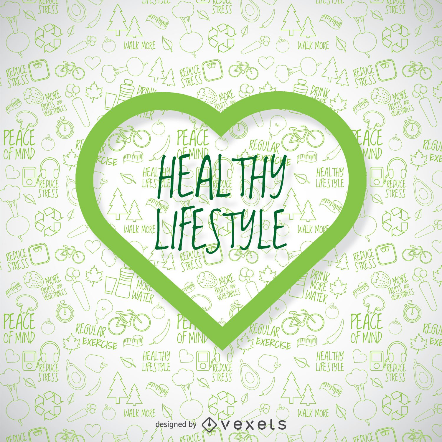 Healthy lifestyle wallpaper with green heart   Vector download 1500x1500