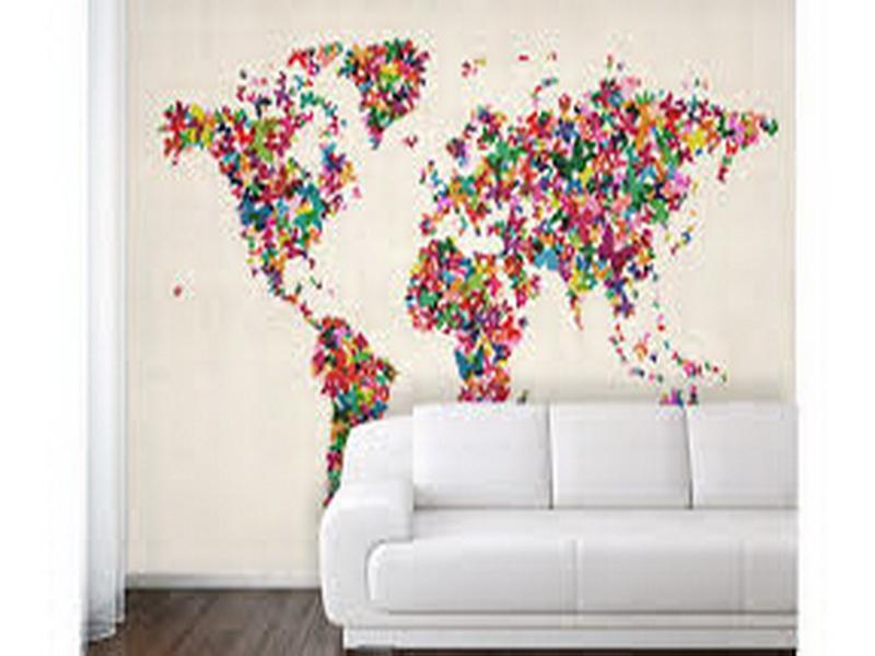 and Interior Design Gallery of Colorful World Map Wallpaper For Walls 800x600