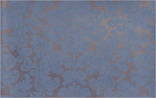 York Wallpaper Large damask design wallpaper in blue and gold 500x316
