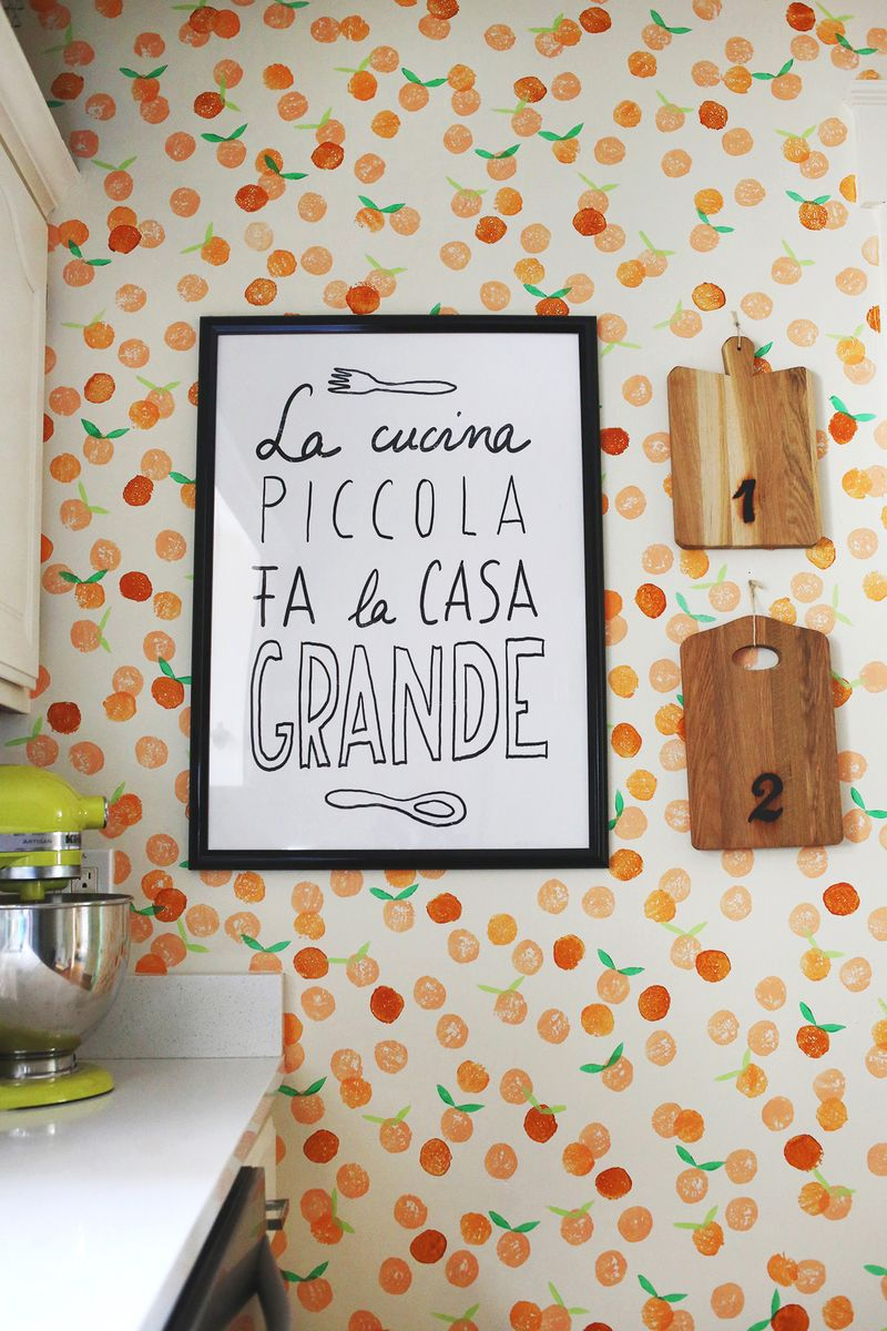 Hand Stamped Clementine Wall   A Beautiful Mess 800x1200