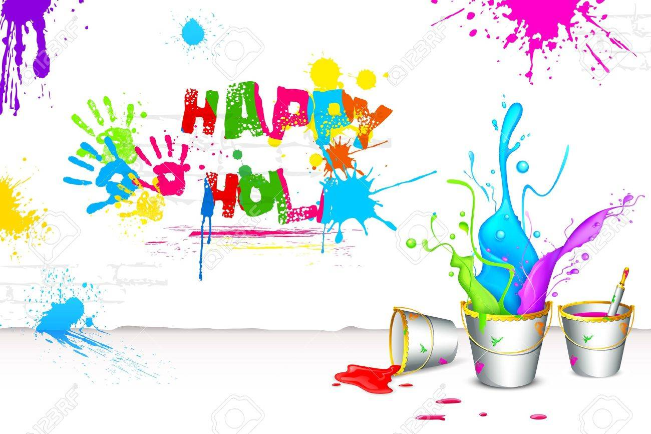Illustration Of Bucket Full Of Color In Holi Background Royalty 1300x866