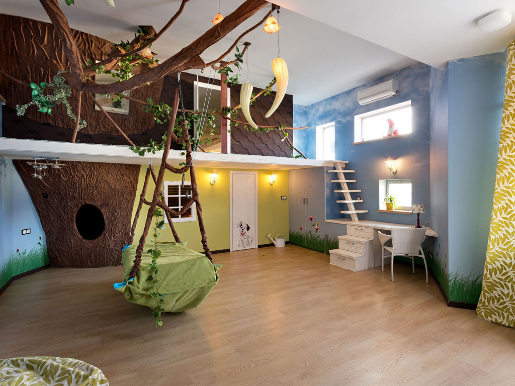 Free Jungle Theme For Kids Room With Tree Wallpaper