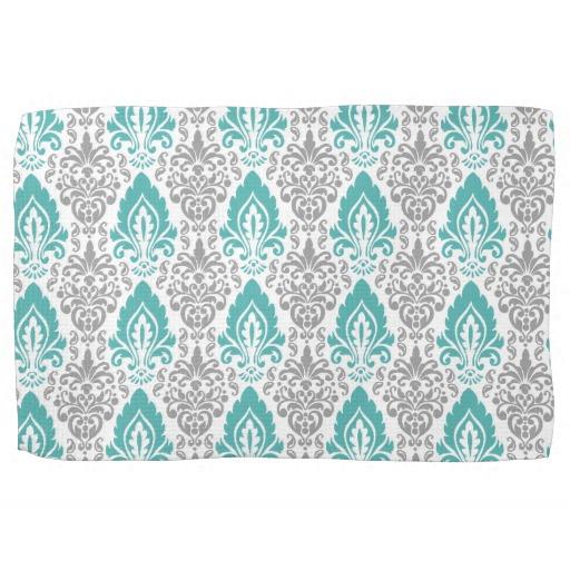 Blue and Grey Damask Pattern on White Background Towels Zazzle 512x512