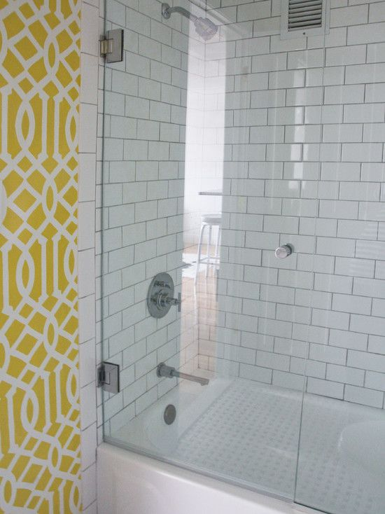 Wallpaper w white subway tile Interior Design Pinterest 550x734