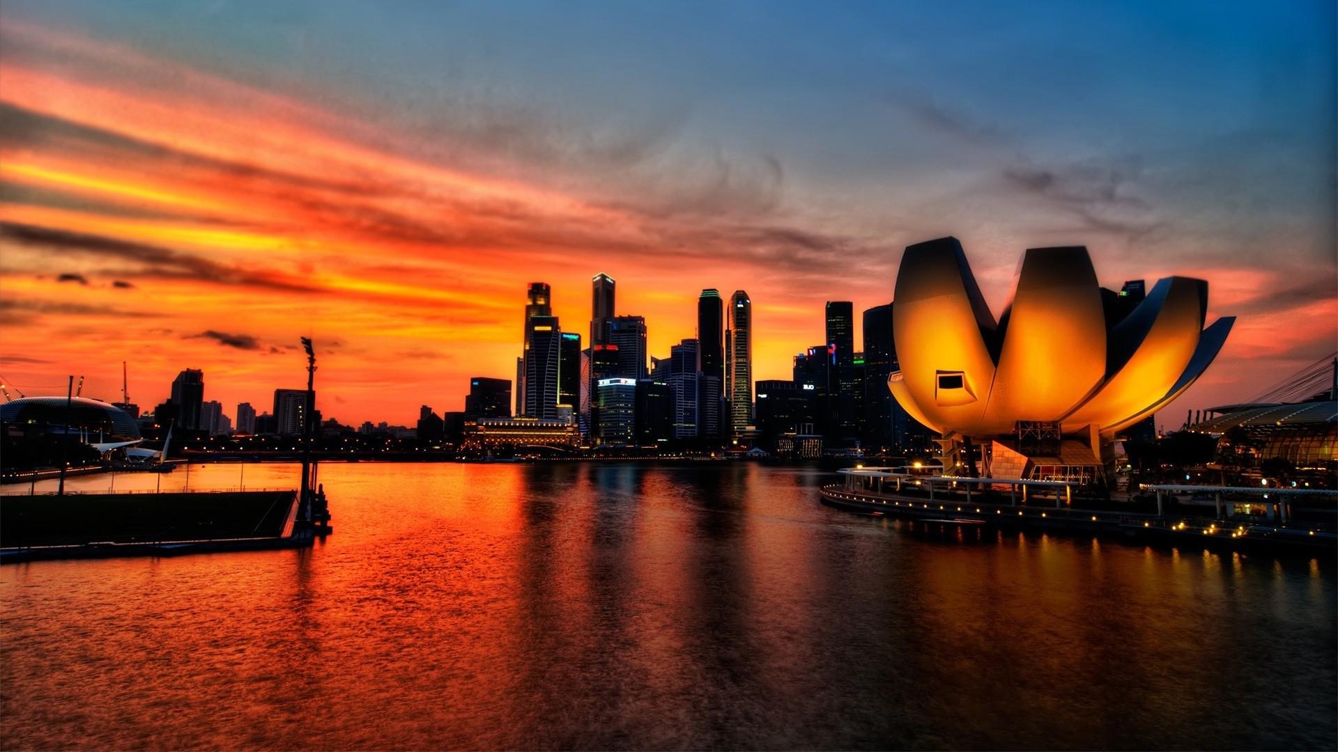 Download 1920x1080 HD Wallpaper sunset singapore megapolis bay 1920x1080