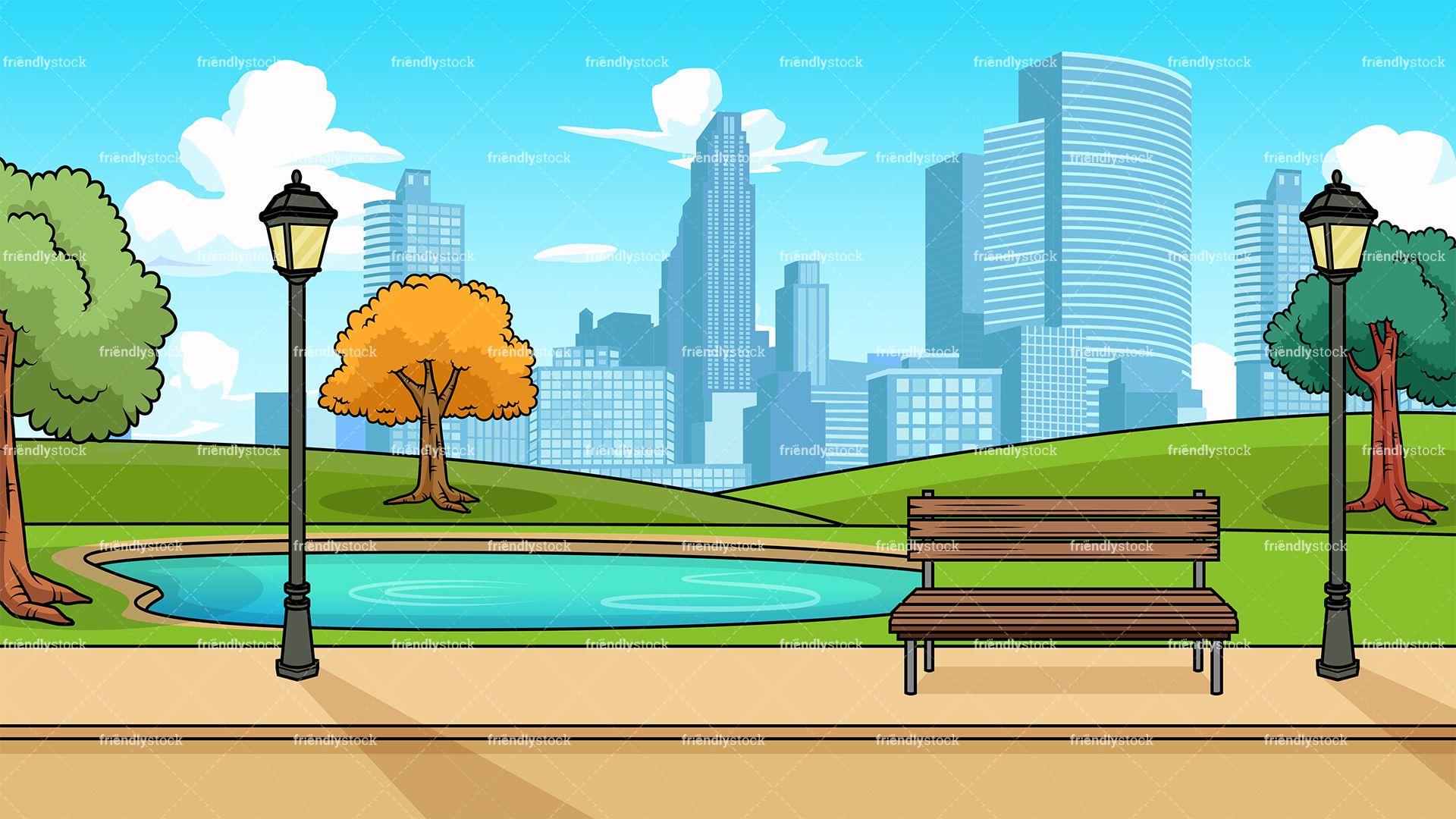 Modern City Park Background Cartoon Clipart Vector   FriendlyStock 1920x1080