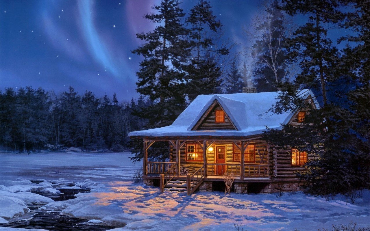 Northern Lights Log Cabin Wallpaper download   Download 1280x800