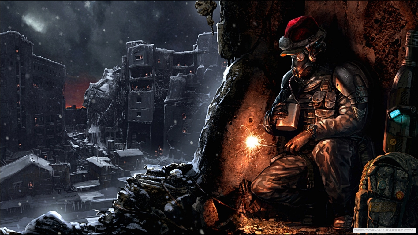 Ruins Futuristic Christmas Post Apocalyptic 1366768 Wallpaper 1366x768