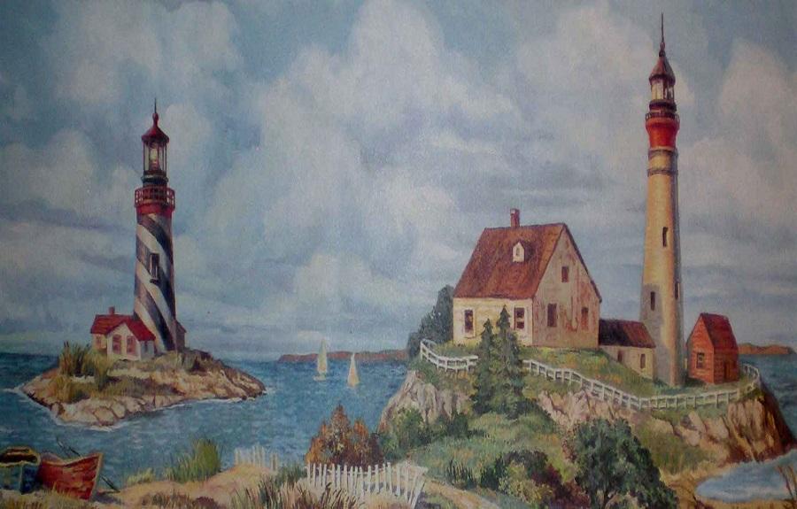 Nautical Lighthouse Wallpaper Border for Bathroomsjpg 900x575