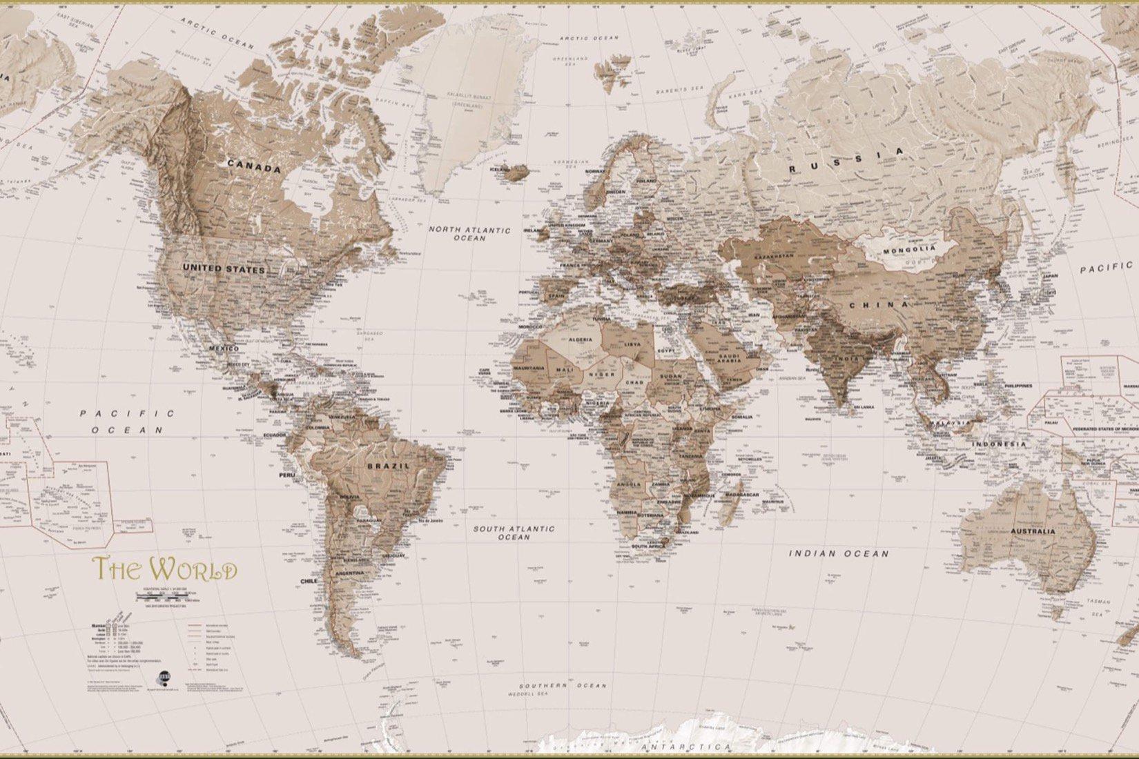 Earth Tone World Map Mural Wallpaper Murals Wallpaper 1650x1100