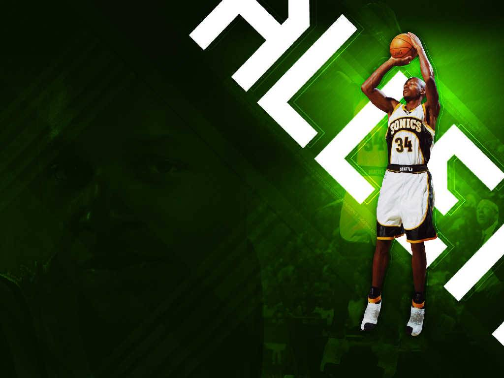 Ray Allen Shooting Wallpaper cool   Seattle Supersonics Wallpaper 1024x768