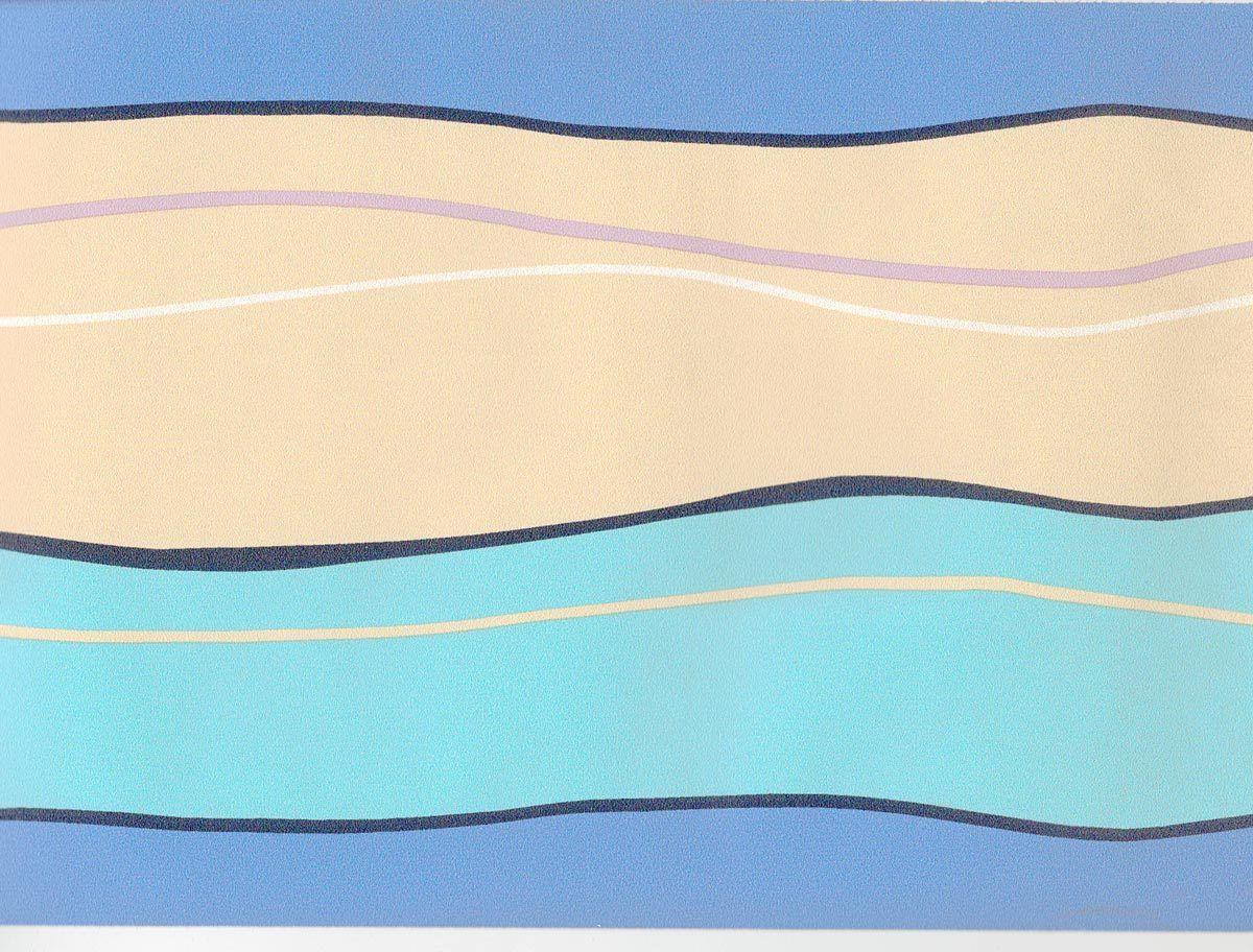 Sale 12 Modern Color Lines Blue Creme Aqua 45 feet Wallpaper Border 1200x912