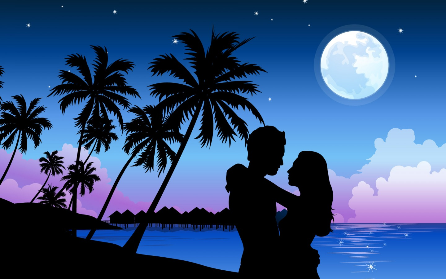 Romantic Beach Paradise PowerPoint background Available in 1440x900 1440x900