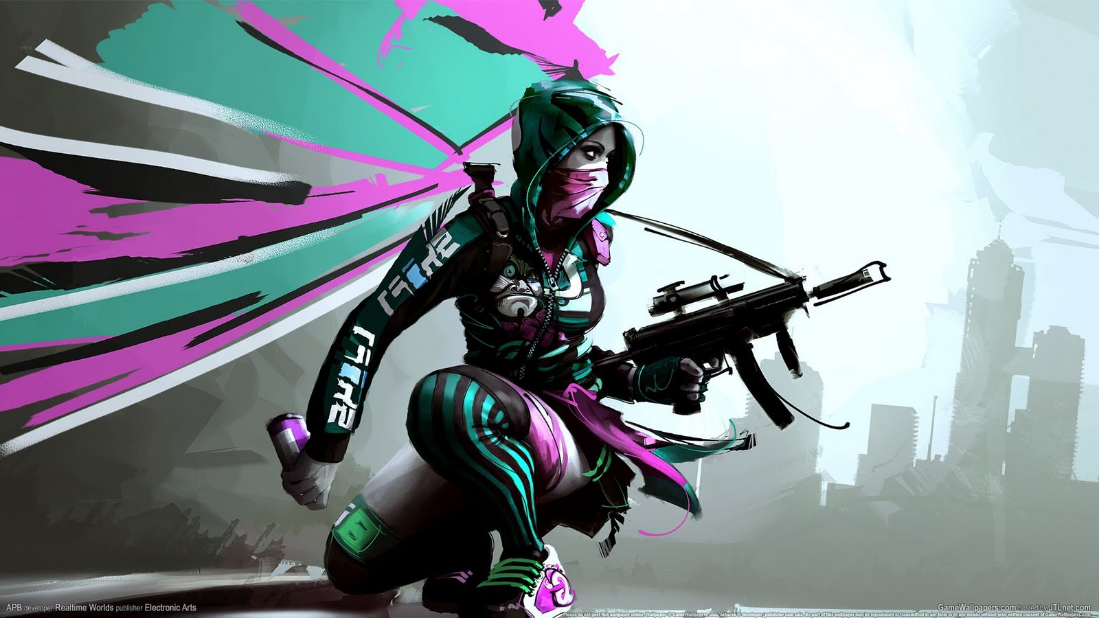 Girl Submachine Gun APB Game HD Wallpapers Epic Desktop Backgrounds 1600x900