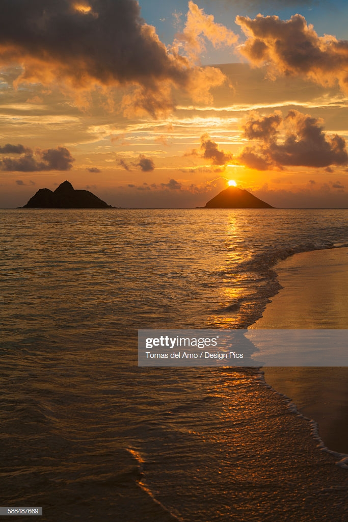 Sunset At Lanikai Beach With Mokuluas Islands In The Background 683x1024