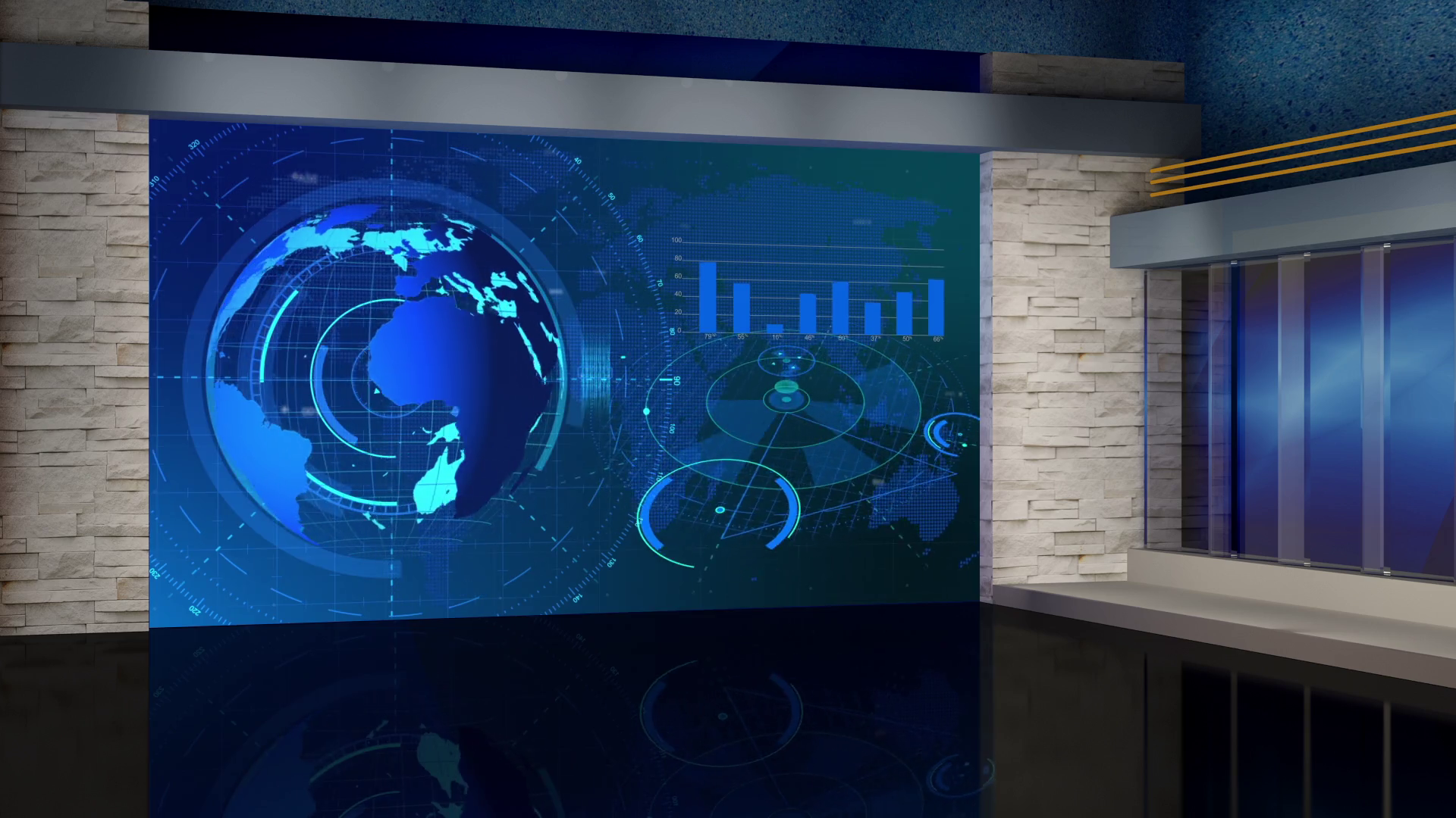 News 60 Broadcast Tv Studio Green Screen Background Loopable 1920x1080