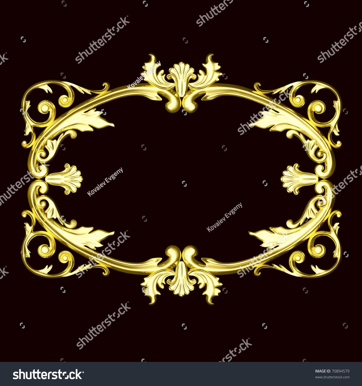3 D Gold Ornament Sculptural Form On Stock Illustration 70894579 1500x1600