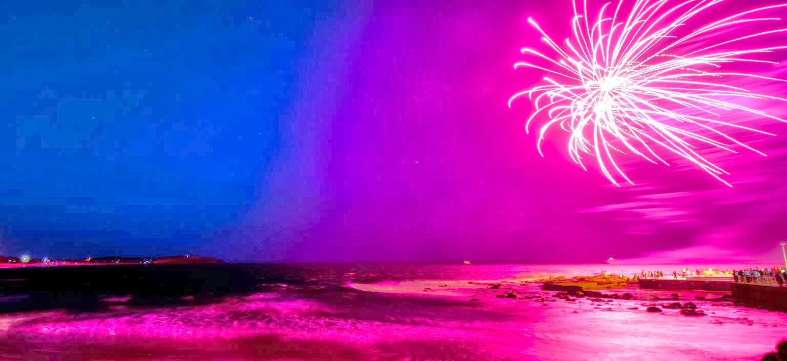 Beach Fireworks Pink HD Wallpaper Banner wallpaper whae 1536x704