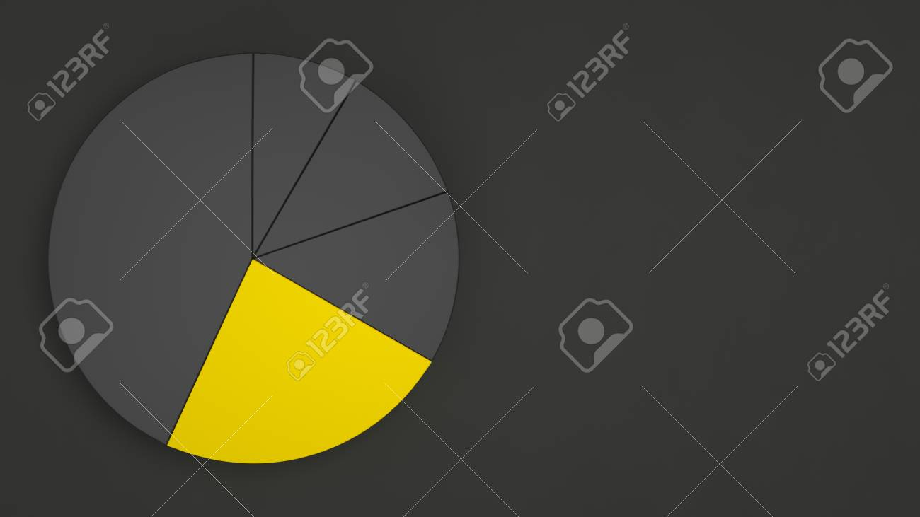 Black Pie Chart With One Yellow Sector On Black Background 1300x731