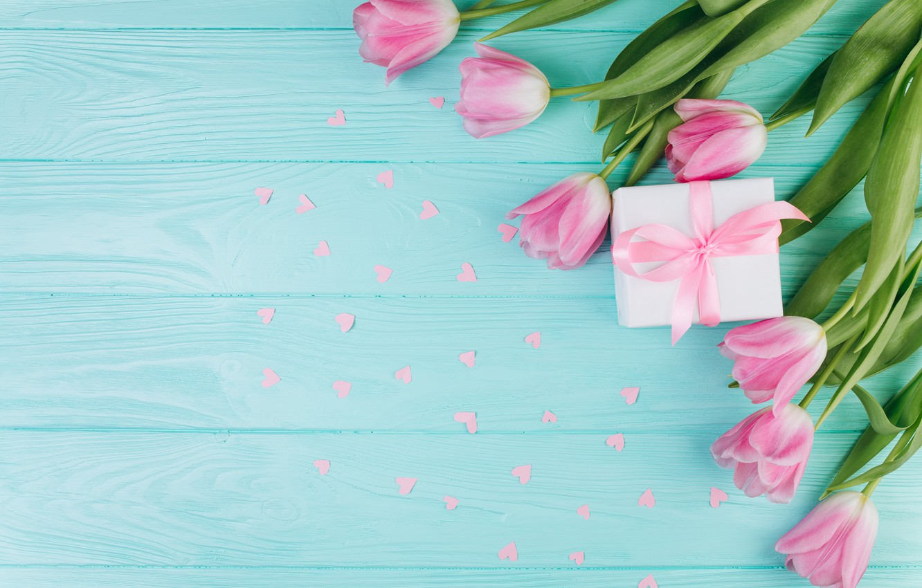 Wallpaper love flowers gift hearts tulips love pink fresh 1332x850
